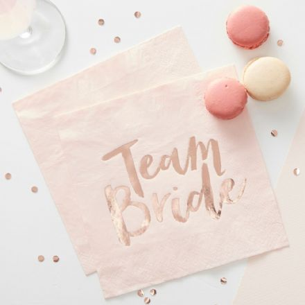 Team Bride Pink Paper Napkin -  pack of 16